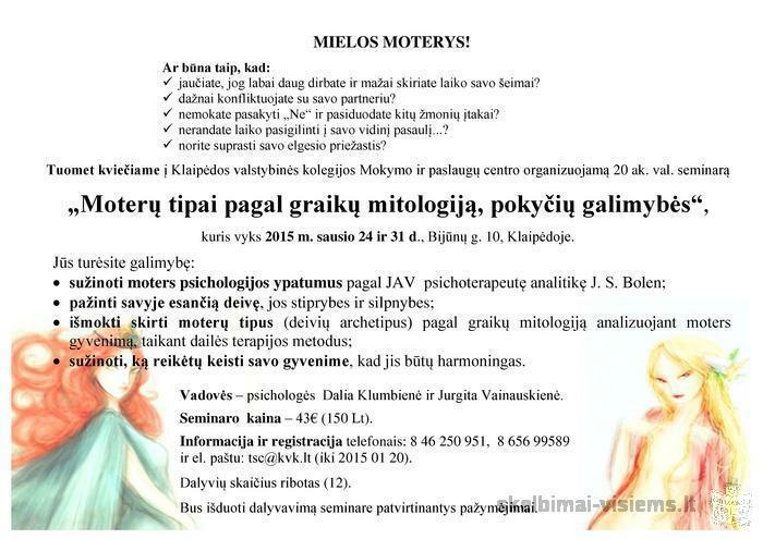 """""""Moterų tipai pagal graikų mitologiją, pokyčių galimybės"""""""