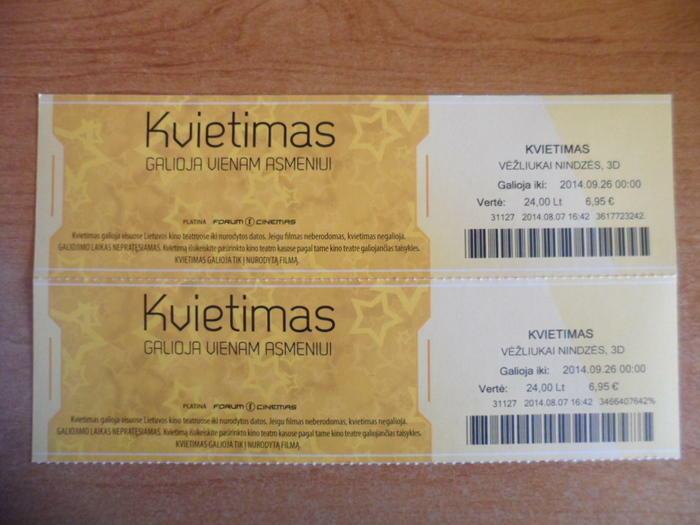 Bilietai į kiną.