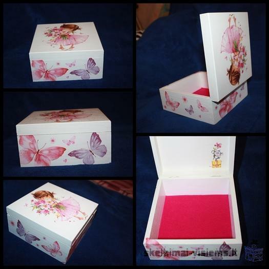 Dekupažo technika dekoruota dėžutė