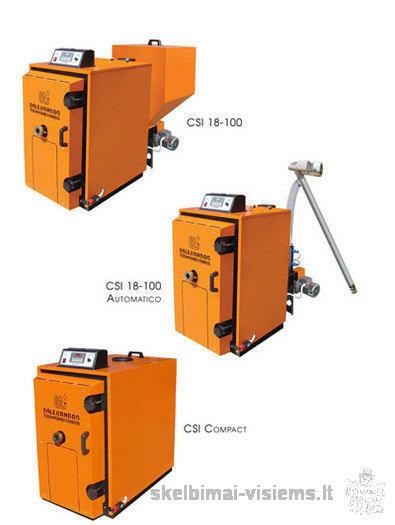 Granuliniai katilai CSI 20-100 kW, puikiai tinka deginti avižom, medienos, šiaudų, granulėms