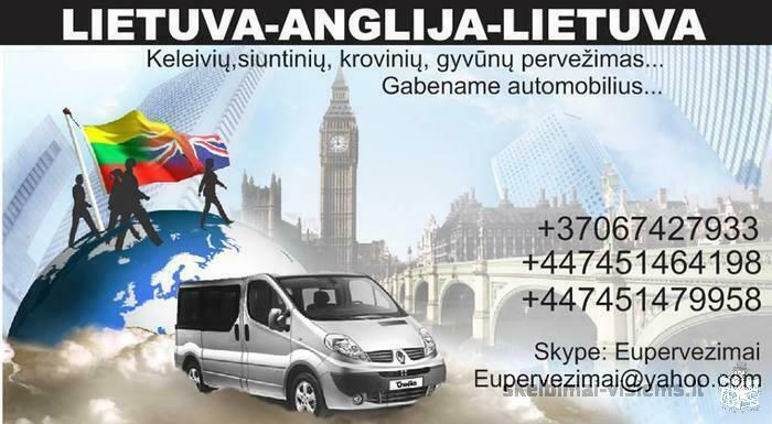 Keleivių, siuntų, gyvūnų pervežimas LT-UK-LT