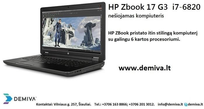 Naujas HP ZBook 17 G3 nešiojamas kompiuteris Šiauliai