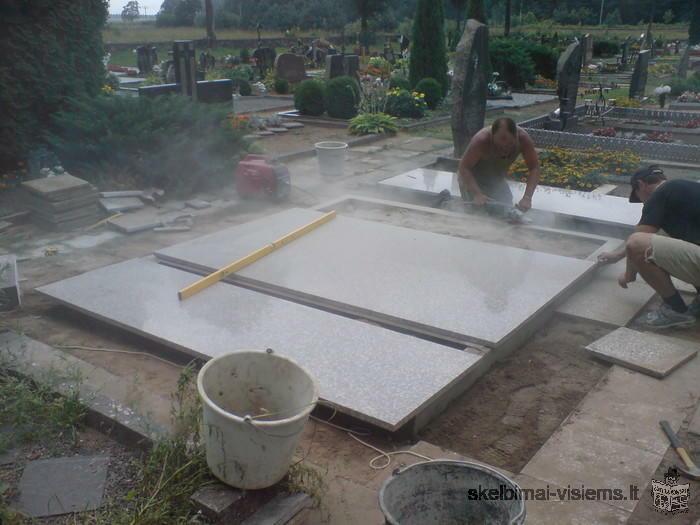 Paminklai, gaminiai iš akmens Paminklai, akmes plokstes, kapaviecių tvarkymas