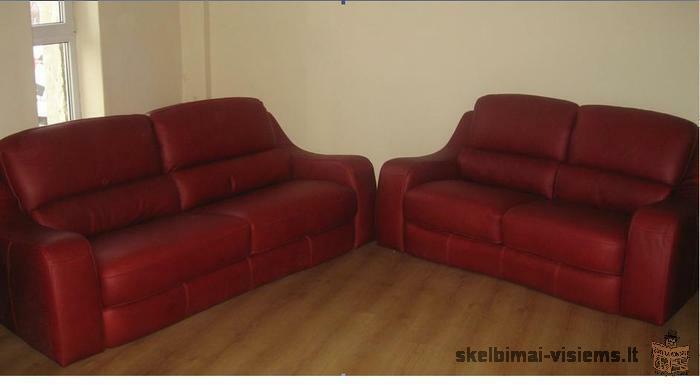 Parduodami itališkų odinių sofų komplektai (2+3)