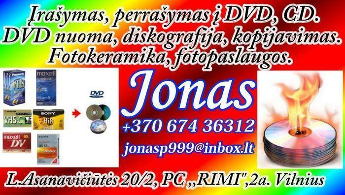 Perrasymas ir irasymas i DVD, CD is VHS, VHS-C, Mini DV, Digital8