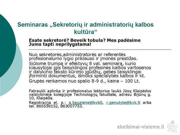 """Seminaras """"Sekretorių ir administratorių kalbos kultūra"""""""