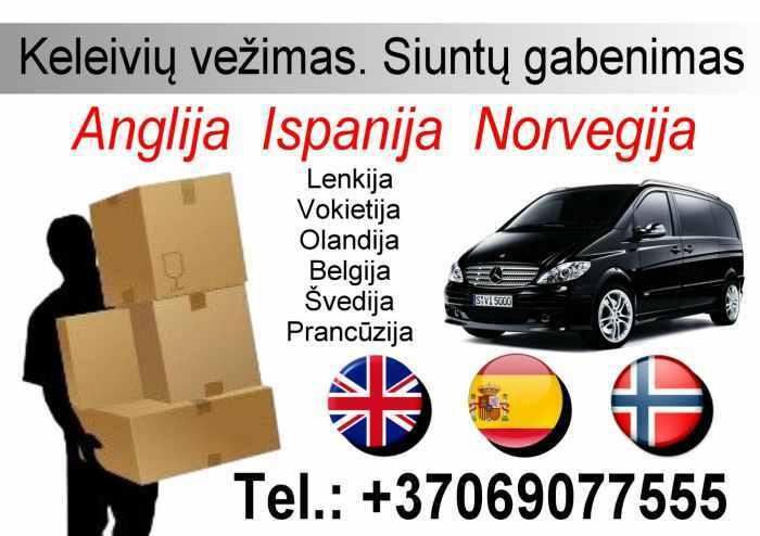 Siuntu ir keleiviu vezimas i Anglija, Ispanija, Norvegija