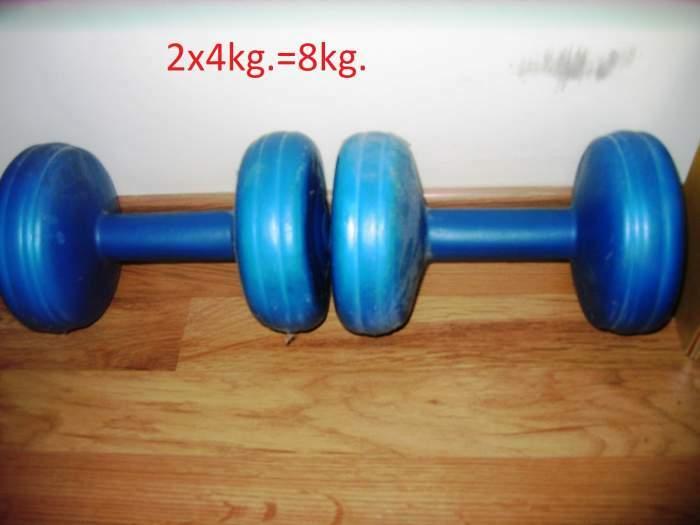 Suoliukas+2 štangos+ 3x2 svarmenys+ 2 ganteliai