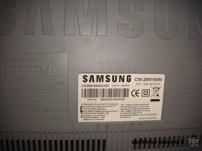 """Televizorius SAMSUNG """"CW-29M164N"""", 88cm įstrižainė. Sidabro spalva. TV staliukas, sidabro spalva."""