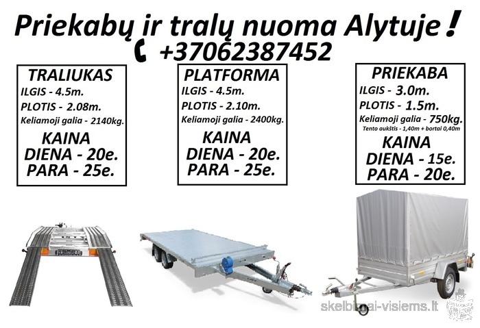 Traliuko / Priekabos / Platformos nuoma! PLATFORMOS NUOMA ! PLATFORMOS MATMENYS: ILGIS 4.50m PLOTIS