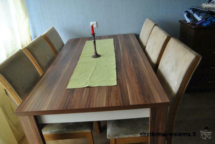 Vokiškas stalas + 6 kėdės