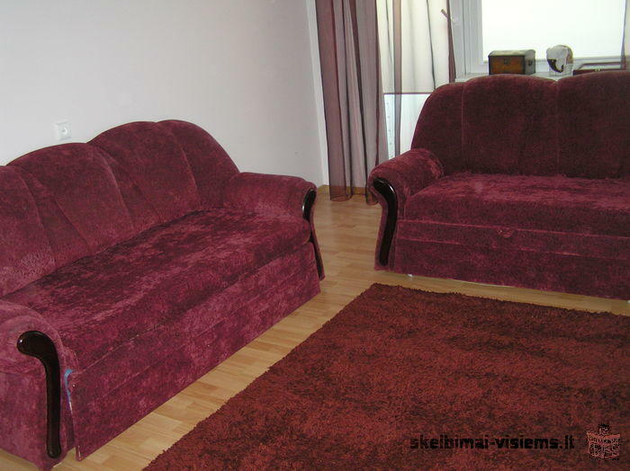parduodamas minkštų baldų komplektas naudotas